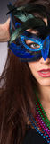 Attractive Brunette Woman Gypsy Costume Feathered Face Mask Stock Photography