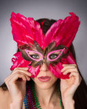Attractive Brunette Woman Gypsy Costume Feathered Face Mask Stock Image