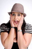 Attractive brunette woman with hat Stock Photo
