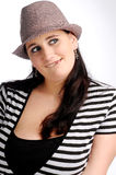 Attractive brunette woman with hat Royalty Free Stock Photos