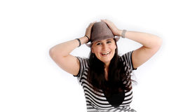 Attractive brunette woman with hat Royalty Free Stock Image