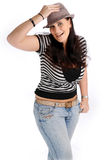 Attractive brunette woman with hat Stock Photography