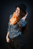 Attractive brunette woman with hat. Royalty Free Stock Photos