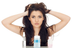 Attractive Brunette Woman Keeps Her Hair By Arms Royalty Free Stock Photo
