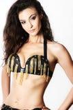 Attractive brunette woman in oriental bra Stock Photography