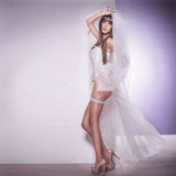 Attractive brunette woman posing as a bride Stock Image