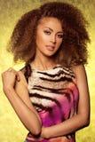 Attractive brunette woman posing in studio. stock photos