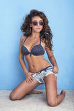 Attractive brunette woman posing in studio Stock Photography