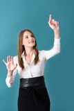 Attractive Brunette Woman Pressing Virtual Button Stock Image