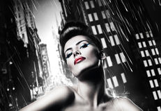 Attractive brunette woman with red lips Royalty Free Stock Images