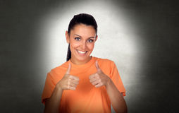 Attractive brunette woman saying Ok Stock Photo
