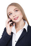 Attractive Brunette Woman Talking on Her Cell Phone Isolated white - Stock Image Stock Photos