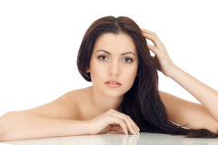 Attractive Brunette Woman With Arms Royalty Free Stock Images
