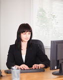Attractive brunette woman working on a computer Royalty Free Stock Images