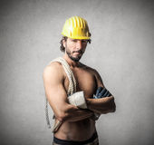 Attractive builder royalty free stock photo