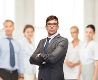 Attractive buisnessman or teacher in glasses Royalty Free Stock Photography
