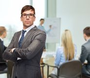 Attractive buisnessman or teacher in glasses Stock Image