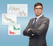 Attractive buisnessman or teacher in glasses Royalty Free Stock Image