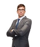 Attractive buisnessman or teacher in glasses Royalty Free Stock Images