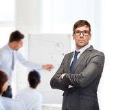 Attractive buisnessman or teacher in glasses Stock Photography