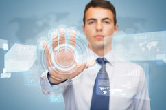 Attractive buisnessman working with virtual screen Royalty Free Stock Photo