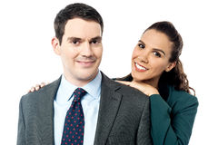 Attractive business couple posing together Stock Photo
