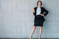 Attractive business lady leadership copy space royalty free stock image