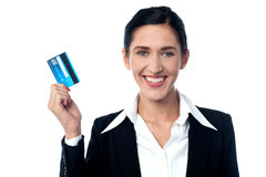 Attractive business lady showing credit card Stock Photos