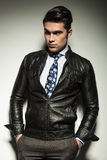 Attractive business man in leather jacket Stock Images
