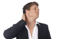 Attractive business man with neck pain Royalty Free Stock Photo