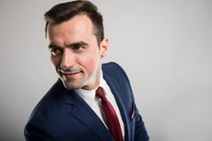 Attractive business man portrait wearing suit and smiling stock images