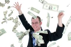 Attractive Business Man In Suit Throwing Money Into Air. Shot with the Canon 20D Royalty Free Stock Image