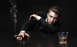 Attractive Business Man With Drink Royalty Free Stock Photo