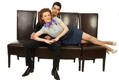 Attractive business people on chairs Royalty Free Stock Photography