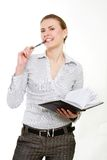 Attractive business woman. Over white stock photo