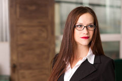 Attractive Business Woman Eyeglasses Office Workin Royalty Free Stock Image