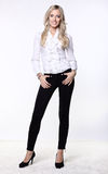 Attractive business woman in blouse and pants Stock Photos