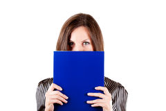 Attractive business woman with blue folder Royalty Free Stock Images