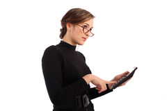 Attractive business woman calculated Royalty Free Stock Photo
