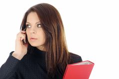 Attractive business woman calling by phone.  royalty free stock photos