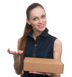 Attractive business woman with cardboard box royalty free stock photos