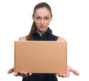 Attractive business woman with cardboard box Stock Photos