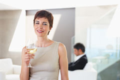 An attractive business woman celebrating Stock Photo