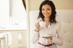 Attractive business woman during coffee break Royalty Free Stock Photos