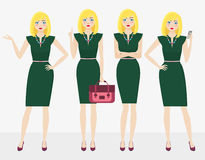 Attractive business woman in elegant office clothes and different poses Royalty Free Stock Images