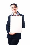 Attractive business woman with empty paper sheet Stock Photo
