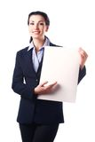 Attractive business woman with empty paper sheet Stock Image