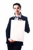 Attractive business woman with empty paper sheet Stock Photos