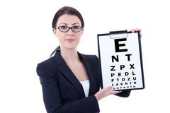 Attractive business woman in eyeglasses with eye test chart isol Stock Photo