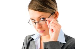 Attractive business woman with glasses Royalty Free Stock Images
